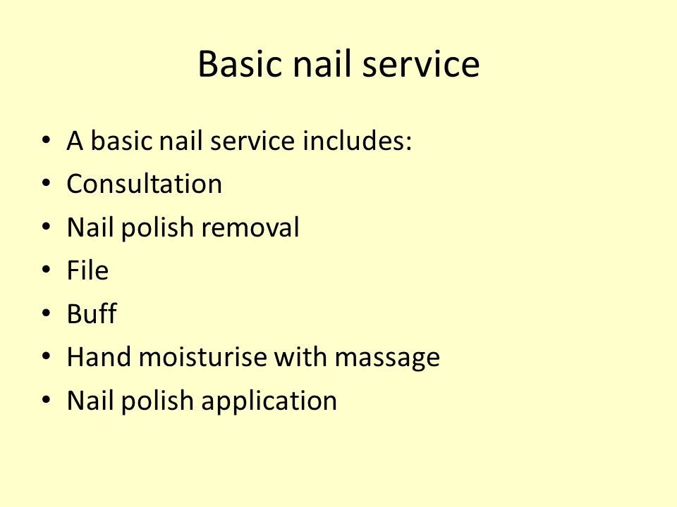Contraindications to nail service Certain nail, hand and skin conditions prevent or restrict a therapist from performing the nail service.