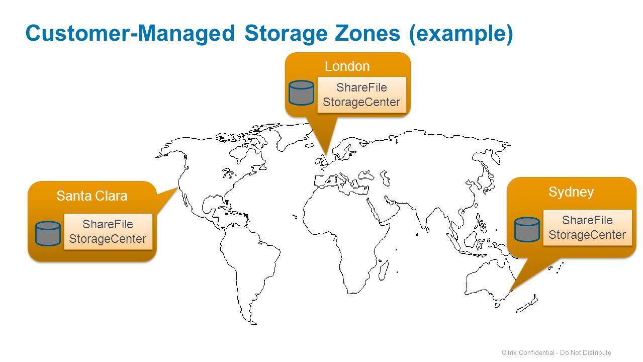 London Customer-Managed Storage Zones (example) Santa Clara ShareFile StorageCenter ShareFile StorageCenter ShareFile StorageCenter ShareFile StorageCenter Sydney ShareFile StorageCenter ShareFile StorageCenter Citrix Confidential - Do Not Distribute