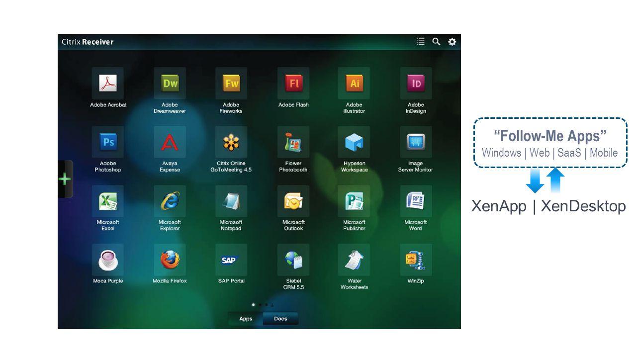 Follow-Me Apps Windows | Web | SaaS | Mobile XenApp | XenDesktop