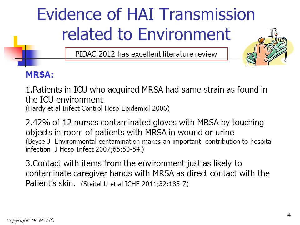 5 Evidence of HAI Transmission related to Environment MRSA & VRE: Patients admitted to room previously occupied by patient with MRSA or VRE have significantly higher risk of acquiring these AROs (Drees et al Clin Infect Dis 2008, Huang et al Arch Int Med 2006) Copyright: Dr.