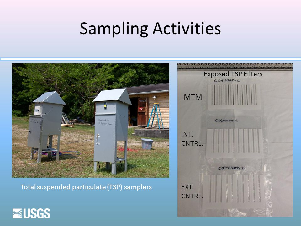 Sampling Activities MTM INT. CNTRL. EXT. CNTRL. Total suspended particulate (TSP) samplers Exposed TSP Filters