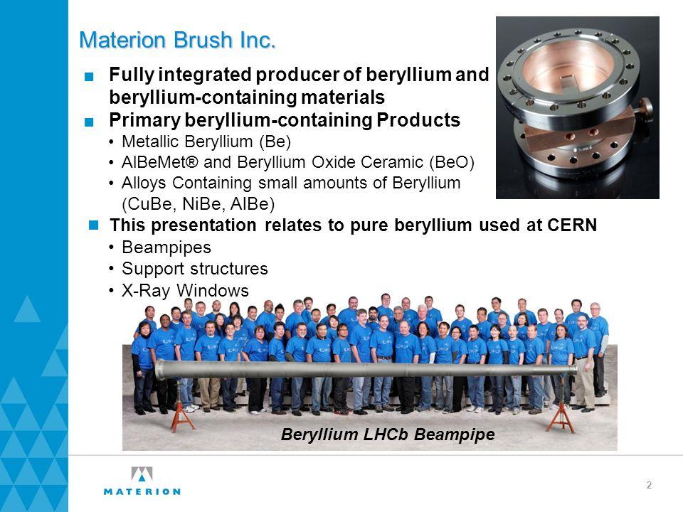 Beryllium LHCb Beampipe Materion Brush Inc. ■Fully integrated producer of beryllium and beryllium-containing materials ■Primary beryllium-containing P