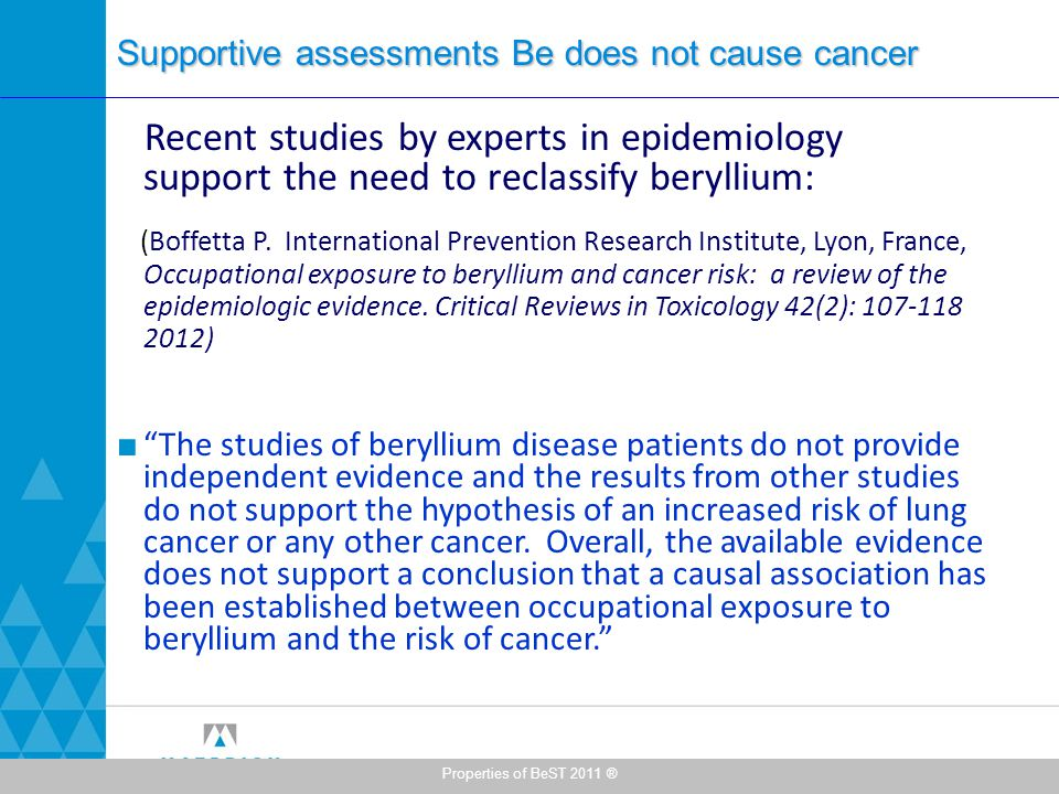 Supportive assessments Be does not cause cancer Recent studies by experts in epidemiology support the need to reclassify beryllium: (Boffetta P.