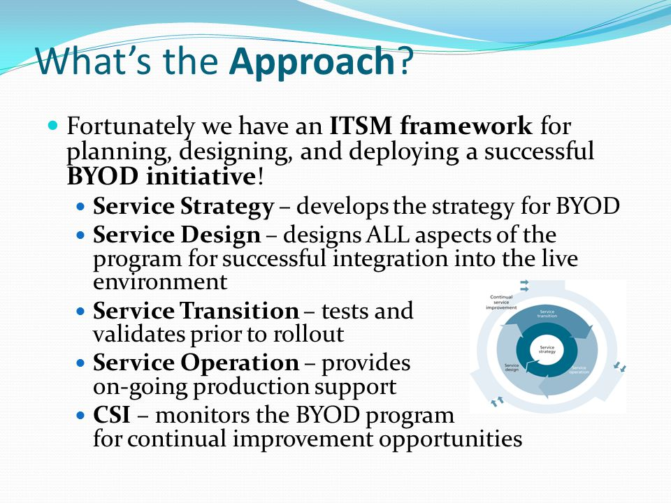 What's the Approach? Fortunately we have an ITSM framework for planning, designing, and deploying a successful BYOD initiative! Service Strategy – dev