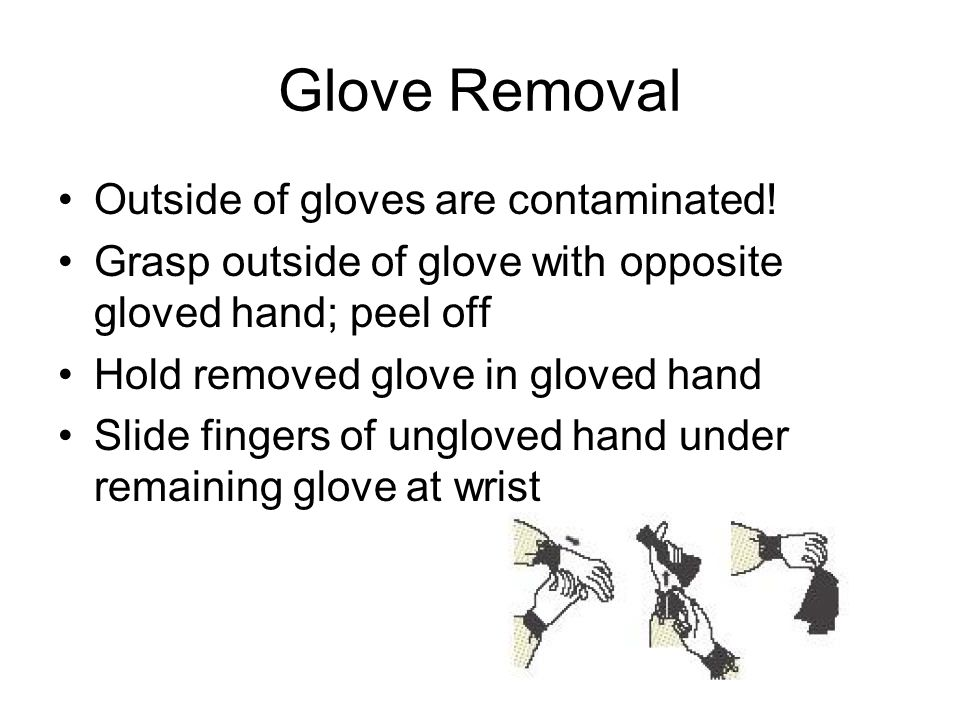 Glove Removal Outside of gloves are contaminated! Grasp outside of glove with opposite gloved hand; peel off Hold removed glove in gloved hand Slide f