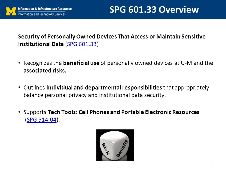 SPG 601.33 Overview Security of Personally Owned Devices That Access or Maintain Sensitive Institutional Data (SPG 601.33)SPG 601.33 Recognizes the beneficial use of personally owned devices at U-M and the associated risks.