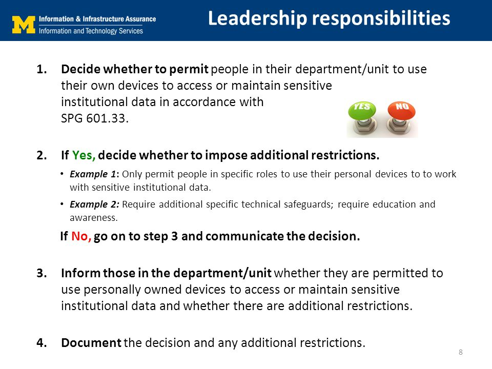 Leadership responsibilities 1.Decide whether to permit people in their department/unit to use their own devices to access or maintain sensitive institutional data in accordance with SPG 601.33.