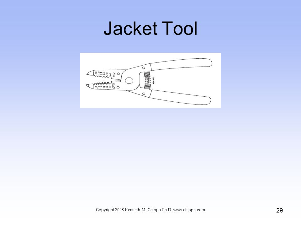 Jacket Tool Copyright 2008 Kenneth M. Chipps Ph.D. www.chipps.com 29