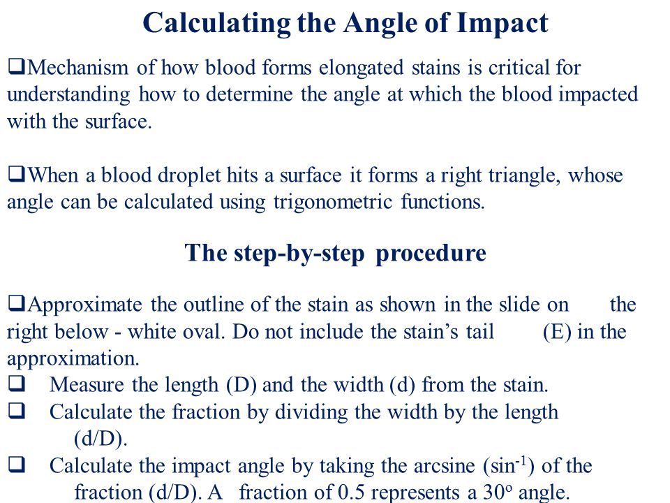  Choose as many as 20 elongated stains traveling linearly from impact point before striking the surface.