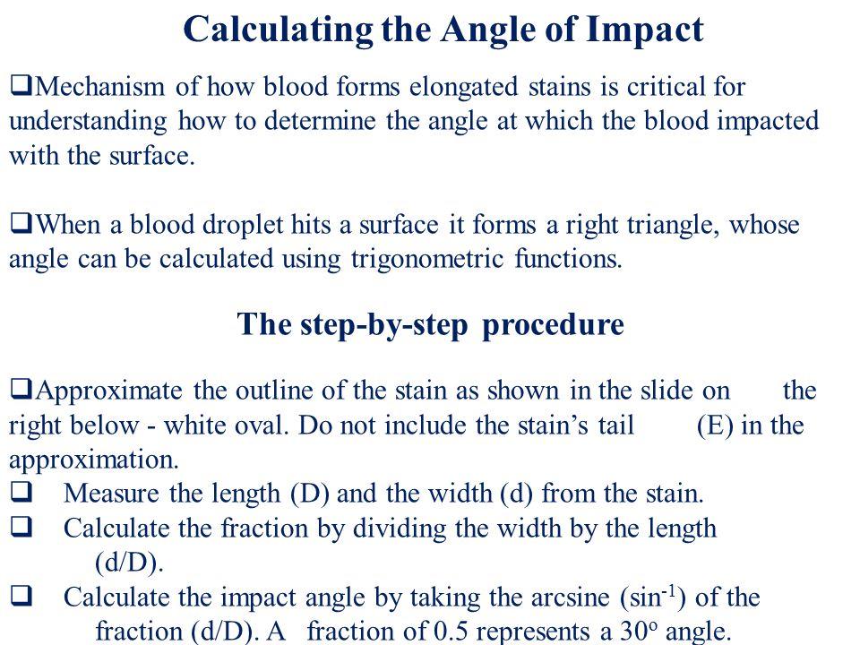 Length (L) Width (W) Angle of Impact Arc sin W/L