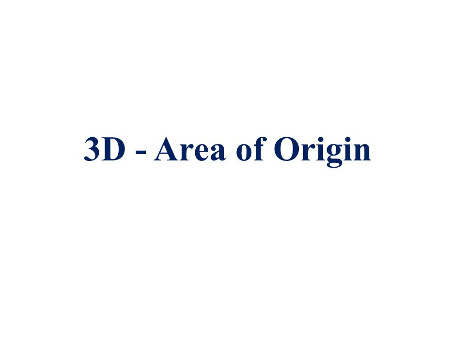 Area of Origin in 3-Dimensions  The spatial location of an impact that caused impact spatter pattern  Third dimension of the 2D determination.