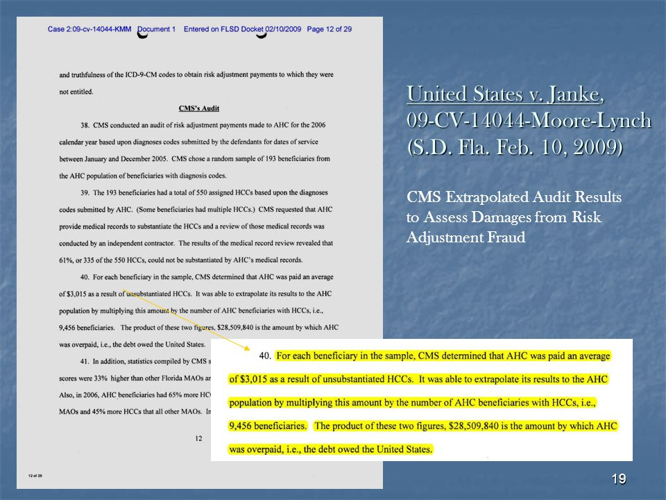 19 CMS Extrapolated Audit Results to Assess Damages from Risk Adjustment Fraud United States v.