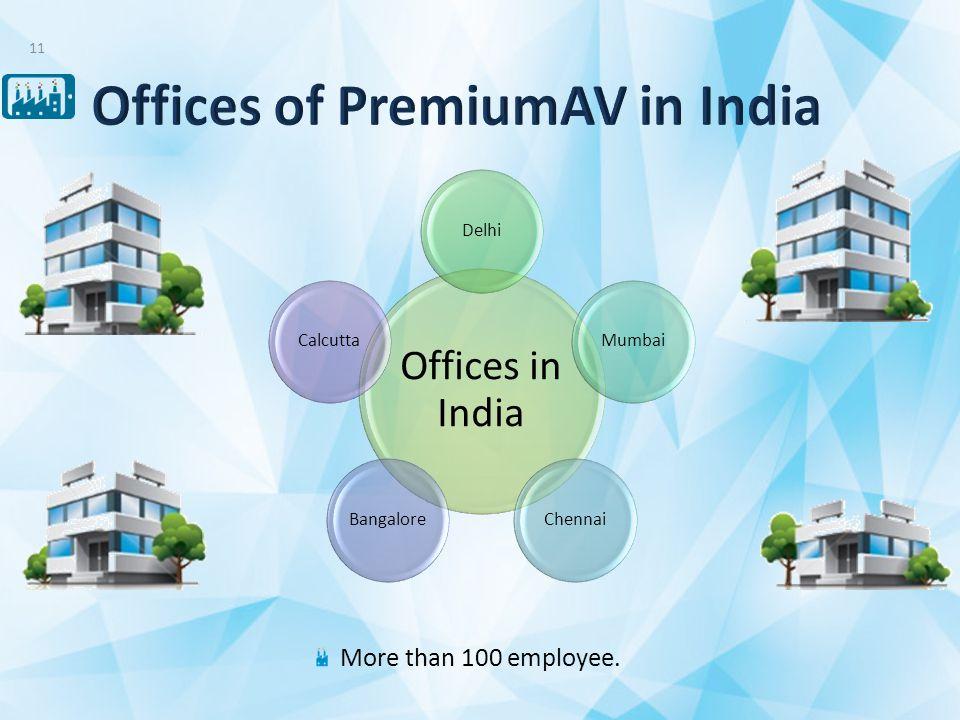 More than 100 employee. 11 Offices in India DelhiMumbaiChennaiBangaloreCalcutta