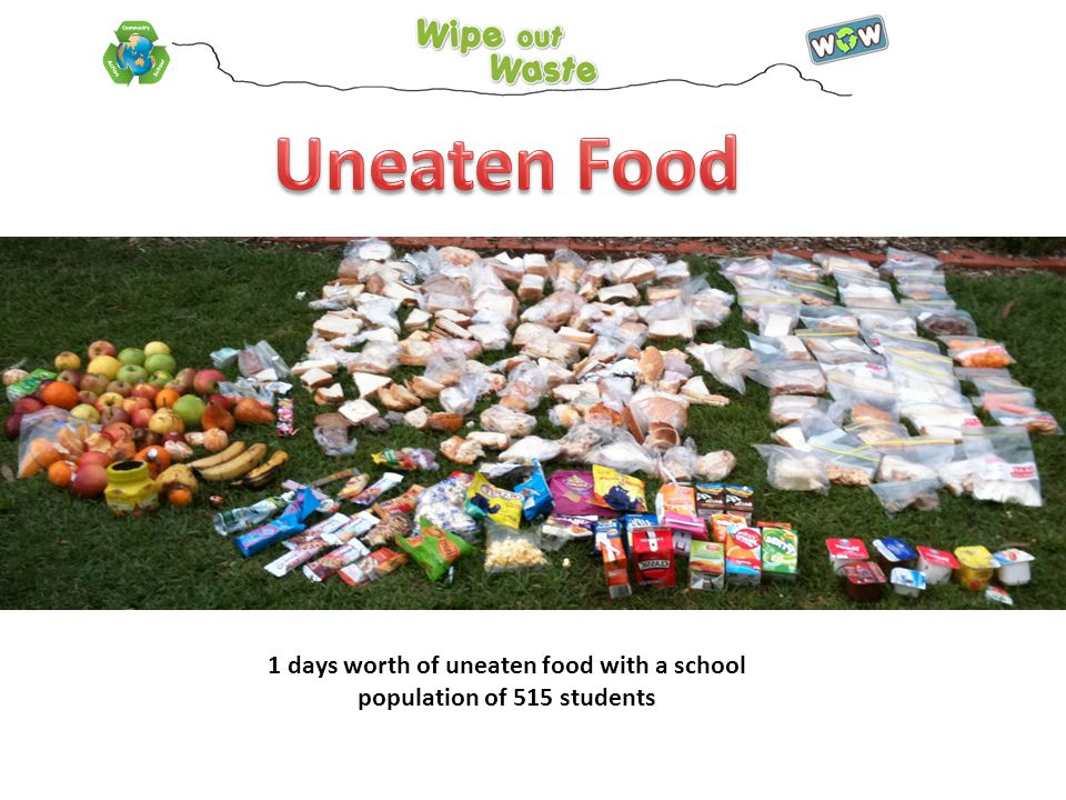 1 days worth of uneaten food with a school population of 515 students