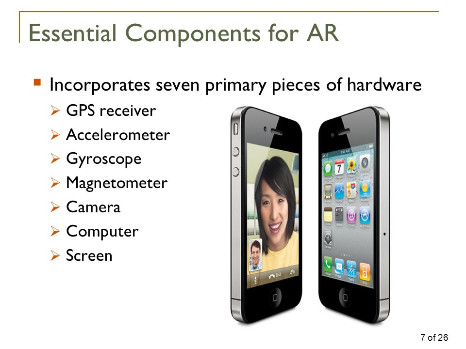 7 of 26 Essential Components for AR  Incorporates seven primary pieces of hardware  GPS receiver  Accelerometer  Gyroscope  Magnetometer  Camera  Computer  Screen