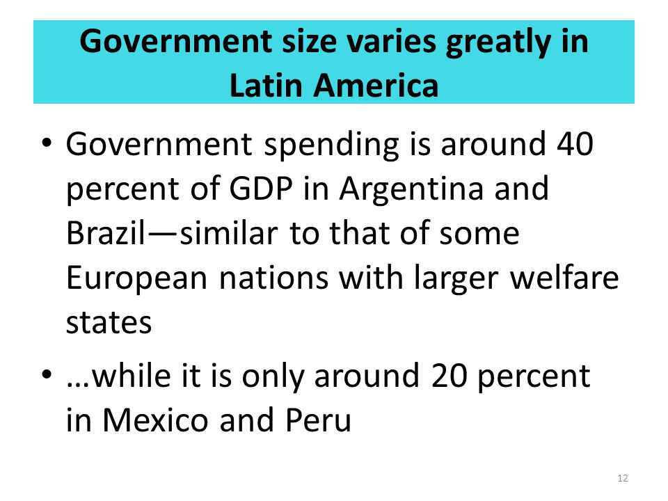 Government size varies greatly in Latin America Government spending is around 40 percent of GDP in Argentina and Brazil—similar to that of some European nations with larger welfare states …while it is only around 20 percent in Mexico and Peru 12