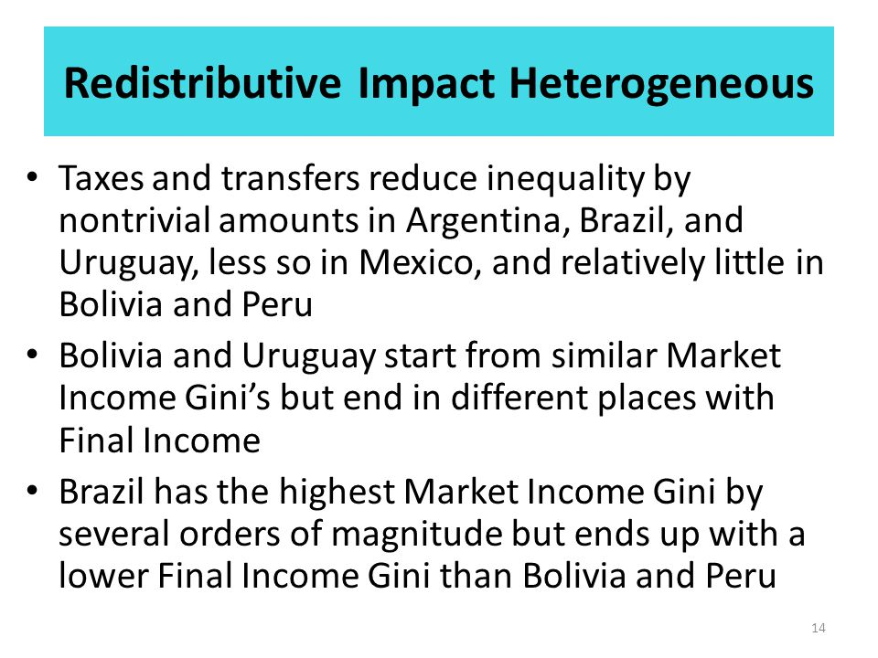 Redistributive Impact Heterogeneous Taxes and transfers reduce inequality by nontrivial amounts in Argentina, Brazil, and Uruguay, less so in Mexico, and relatively little in Bolivia and Peru Bolivia and Uruguay start from similar Market Income Gini's but end in different places with Final Income Brazil has the highest Market Income Gini by several orders of magnitude but ends up with a lower Final Income Gini than Bolivia and Peru 14