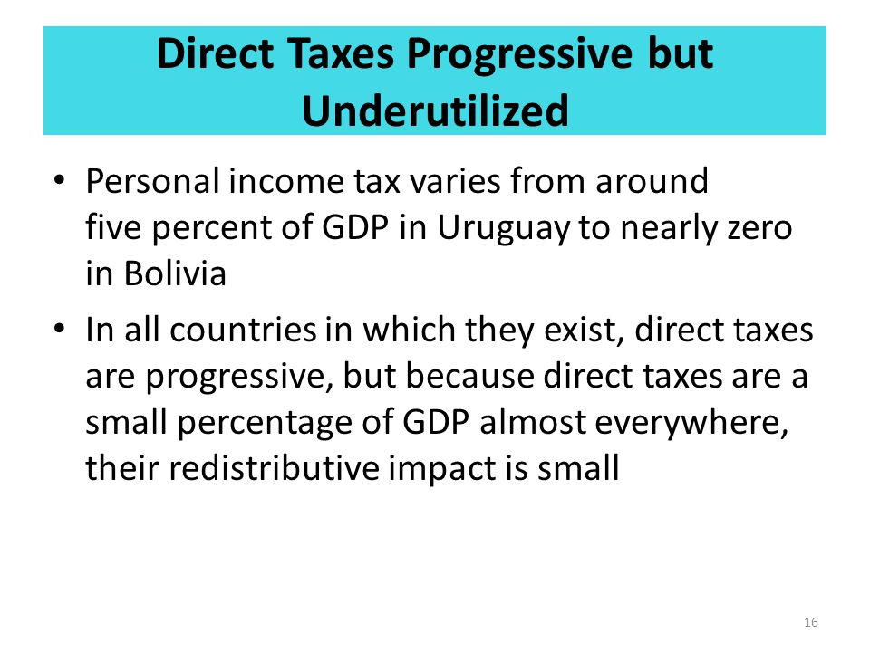 Direct Taxes Progressive but Underutilized Personal income tax varies from around five percent of GDP in Uruguay to nearly zero in Bolivia In all coun