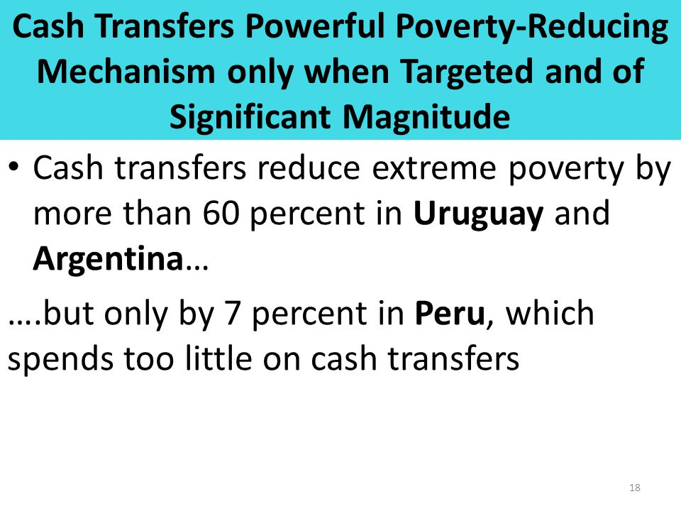 Cash Transfers Powerful Poverty-Reducing Mechanism only when Targeted and of Significant Magnitude Cash transfers reduce extreme poverty by more than
