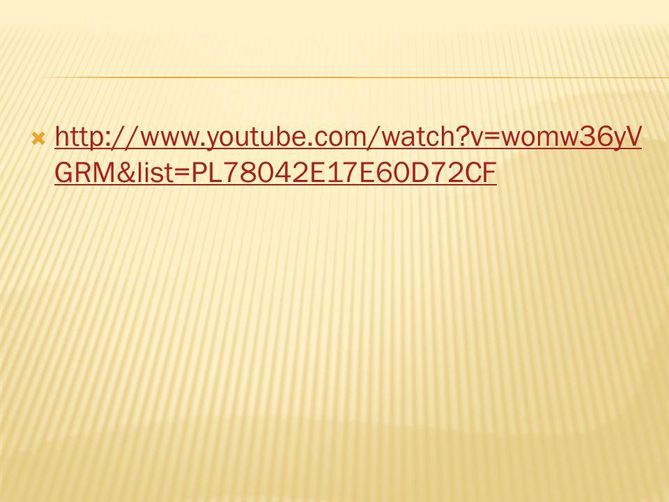  http://www.youtube.com/watch?v=womw36yV GRM&list=PL78042E17E60D72CF http://www.youtube.com/watch?v=womw36yV GRM&list=PL78042E17E60D72CF