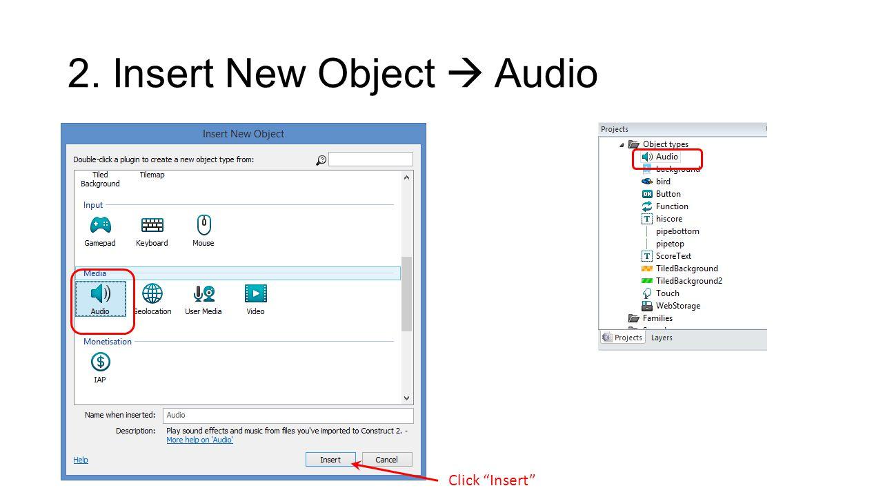 2. Insert New Object  Audio Click Insert