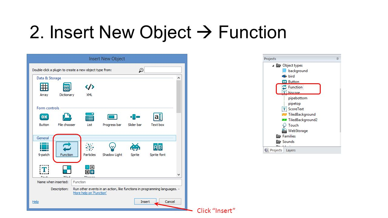 2. Insert New Object  Function Click Insert