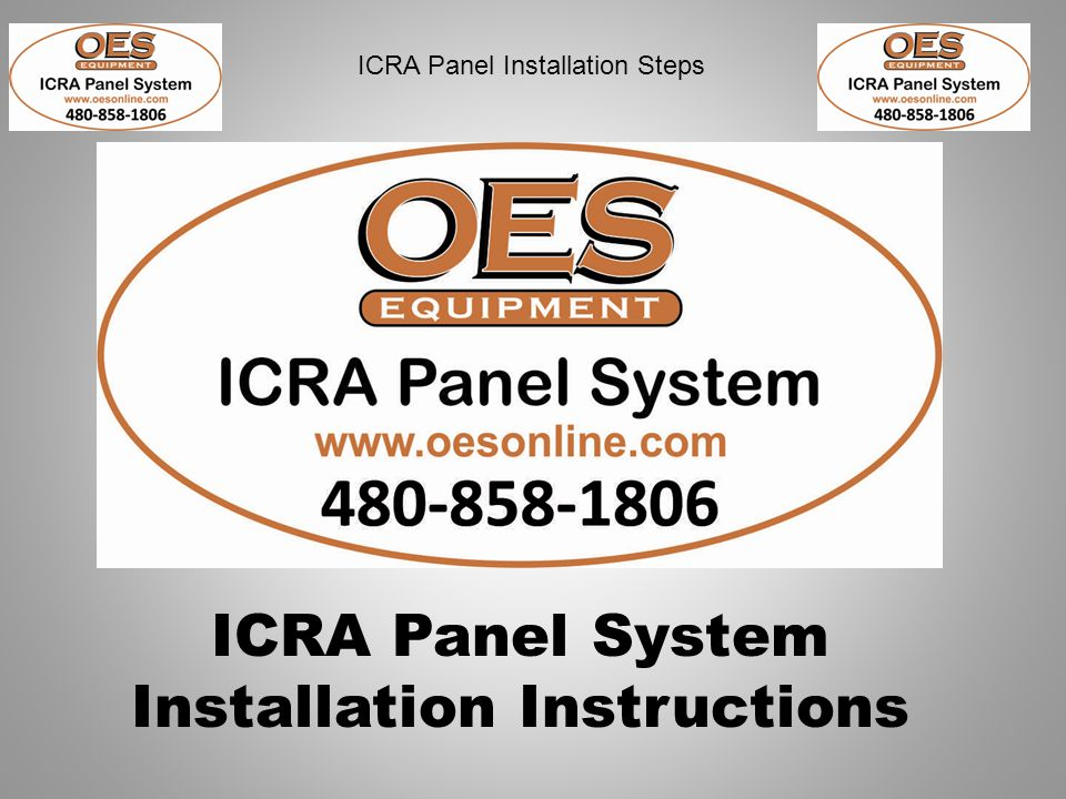 ICRA Panel Installation Steps 1.