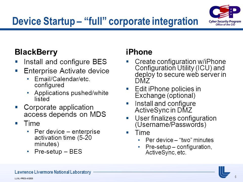 "6 LLNL-PRES-412835 Lawrence Livermore National Laboratory Device Startup – ""full"" corporate integration BlackBerry  Install and configure BES  Enter"