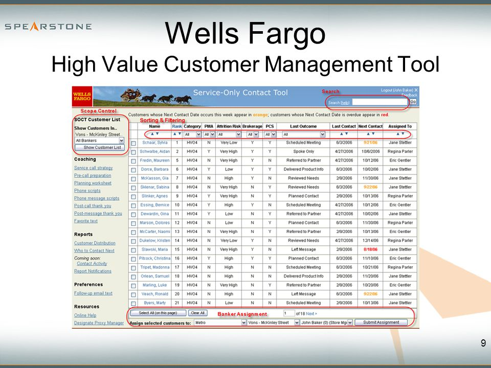 Wells Fargo High Value Customer Management Tool 9
