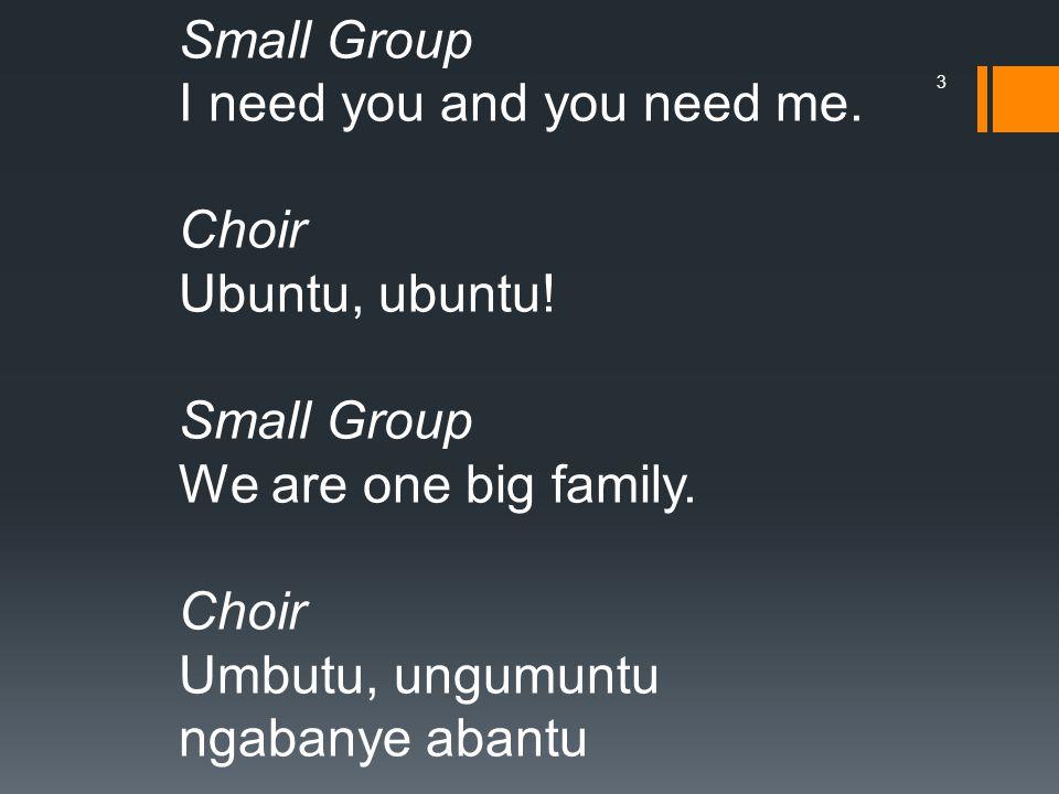 Small Group I need you and you need me. Choir Ubuntu, ubuntu.