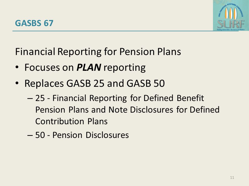 GASBS 67 Financial Reporting for Pension Plans Focuses on PLAN reporting Replaces GASB 25 and GASB 50 – 25 - Financial Reporting for Defined Benefit Pension Plans and Note Disclosures for Defined Contribution Plans – 50 - Pension Disclosures 11