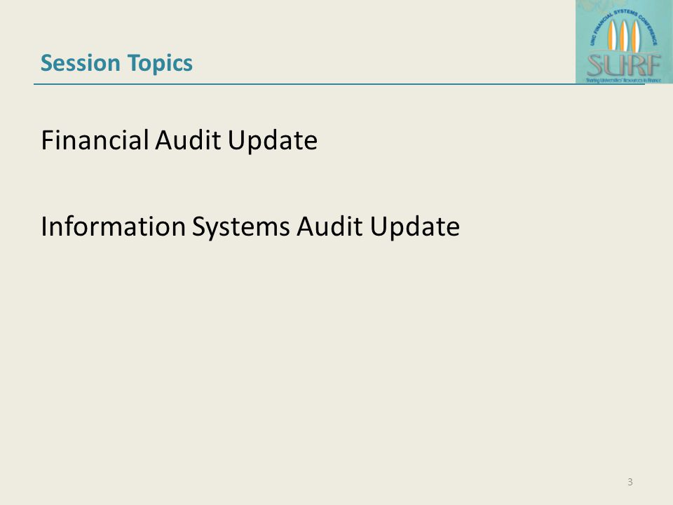 Session Topics Financial Audit Update Information Systems Audit Update 3