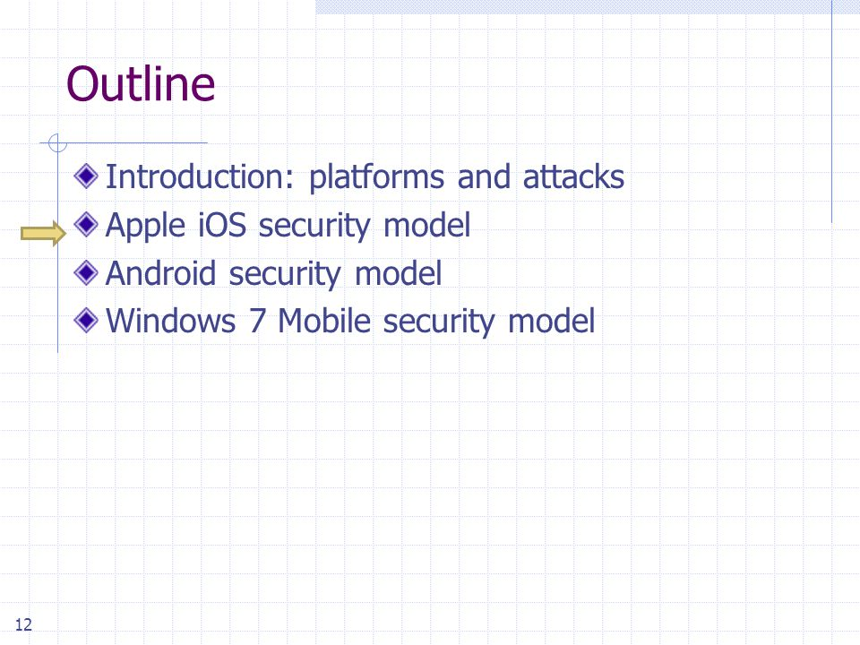 12 Outline Introduction: platforms and attacks Apple iOS security model Android security model Windows 7 Mobile security model