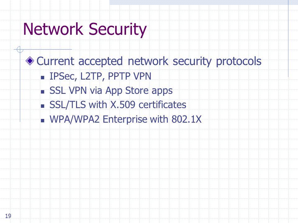 19 Network Security Current accepted network security protocols IPSec, L2TP, PPTP VPN SSL VPN via App Store apps SSL/TLS with X.509 certificates WPA/WPA2 Enterprise with 802.1X