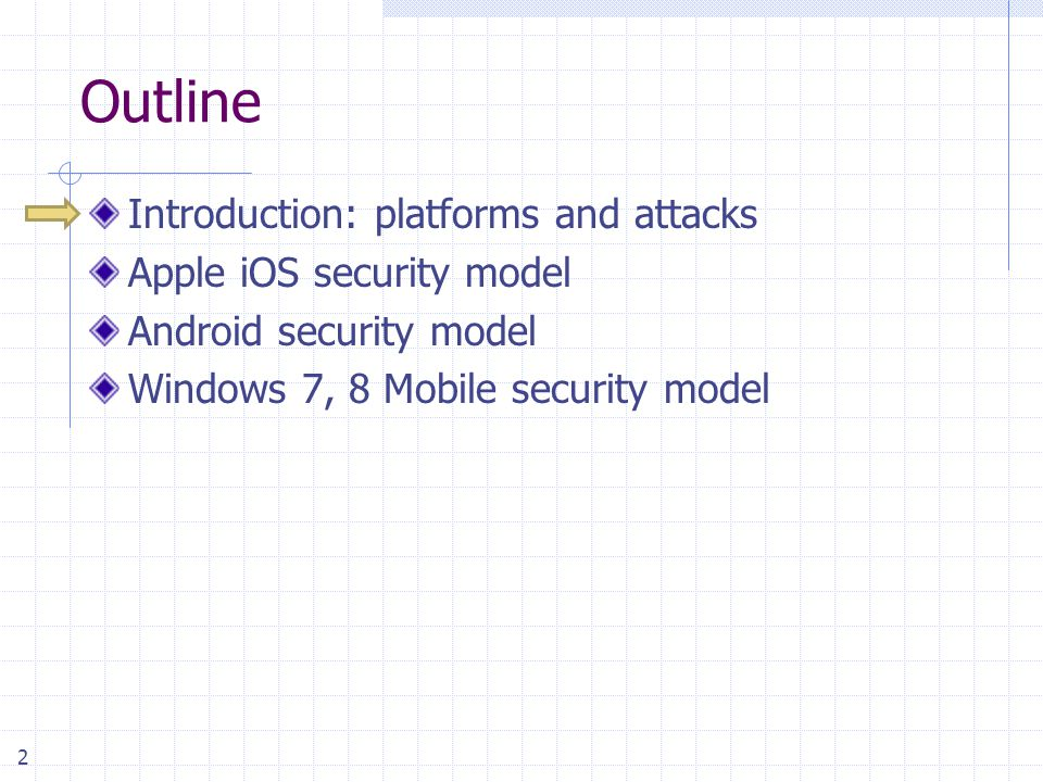2 Outline Introduction: platforms and attacks Apple iOS security model Android security model Windows 7, 8 Mobile security model