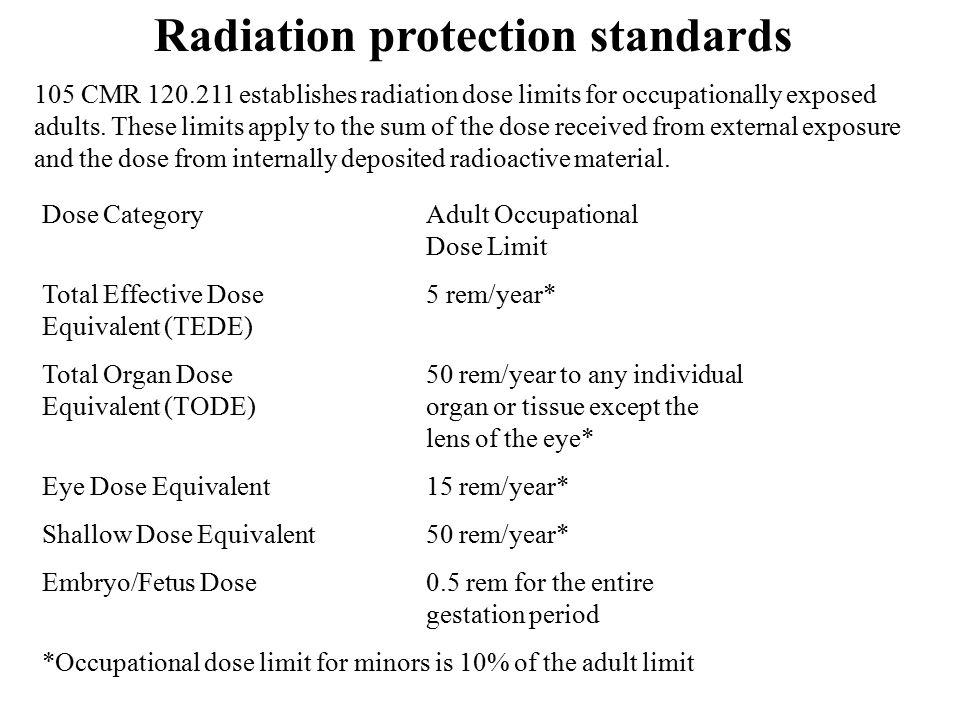 Radiation protection standards Dose Category Adult Occupational Dose Limit Total Effective Dose 5 rem/year* Equivalent (TEDE) Total Organ Dose 50 rem/