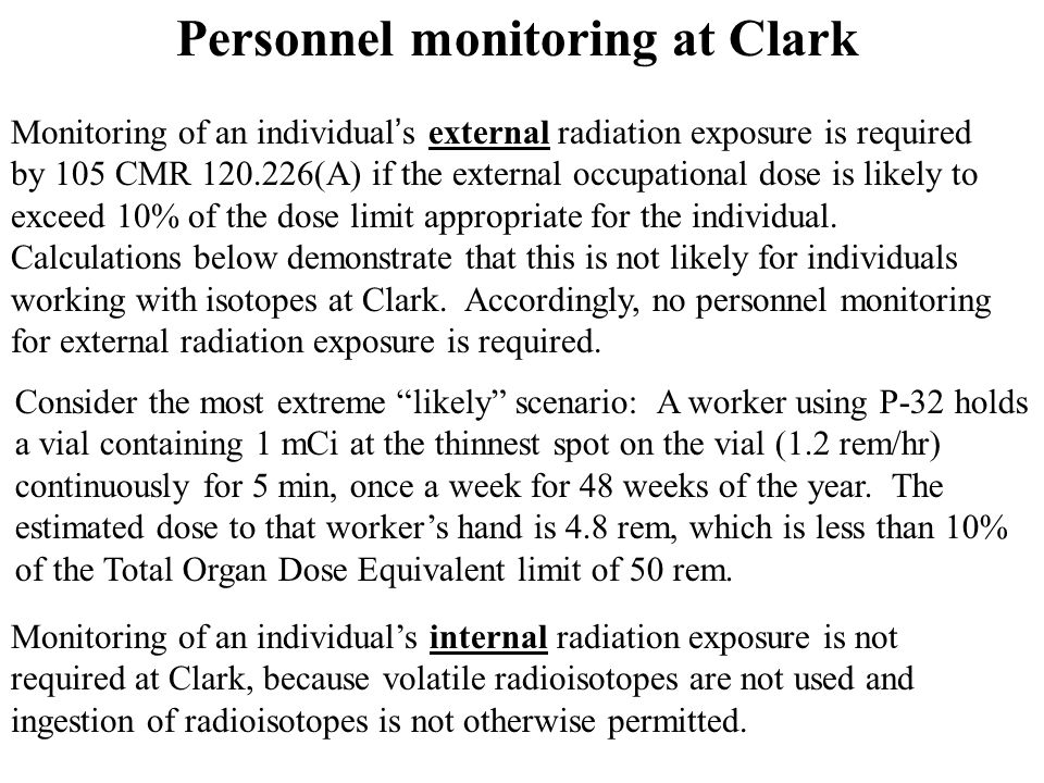 Personnel monitoring at Clark Monitoring of an individual ' s external radiation exposure is required by 105 CMR 120.226(A) if the external occupation