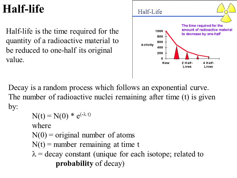Half-life Half-life is the time required for the quantity of a radioactive material to be reduced to one-half its original value. Decay is a random pr