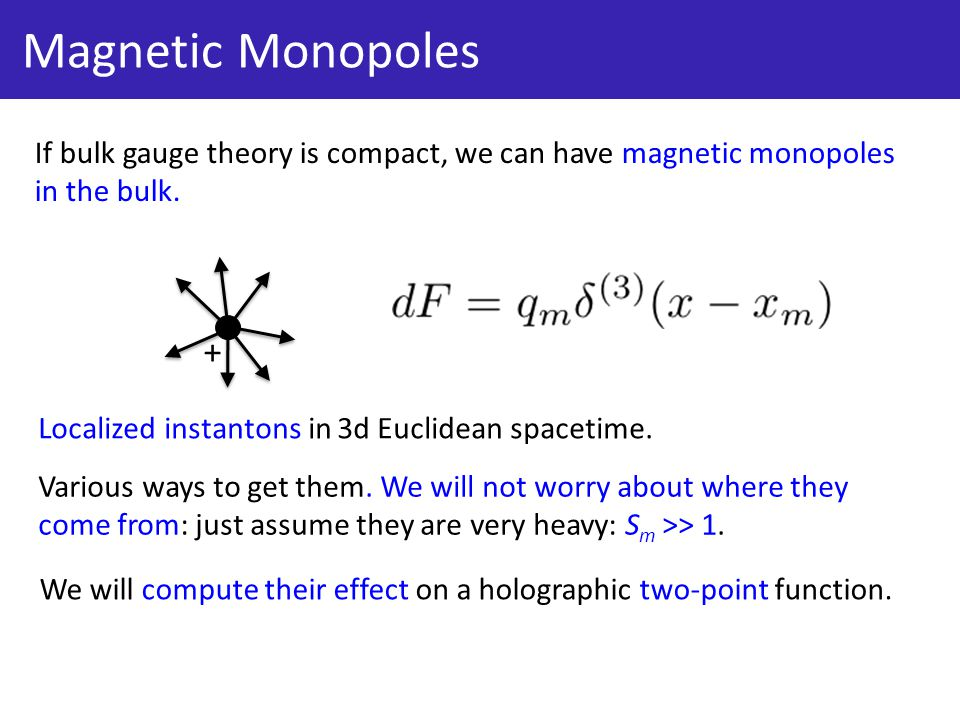 Magnetic Monopoles If bulk gauge theory is compact, we can have magnetic monopoles in the bulk.