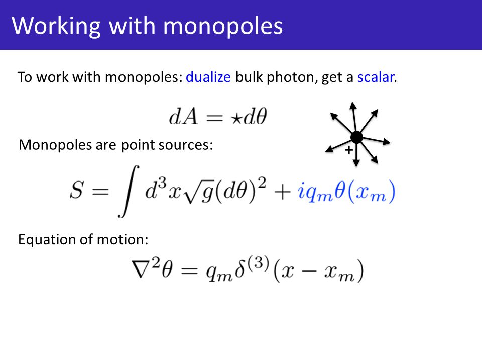 Working with monopoles To work with monopoles: dualize bulk photon, get a scalar.