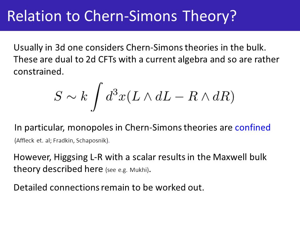 Relation to Chern-Simons Theory.Usually in 3d one considers Chern-Simons theories in the bulk.