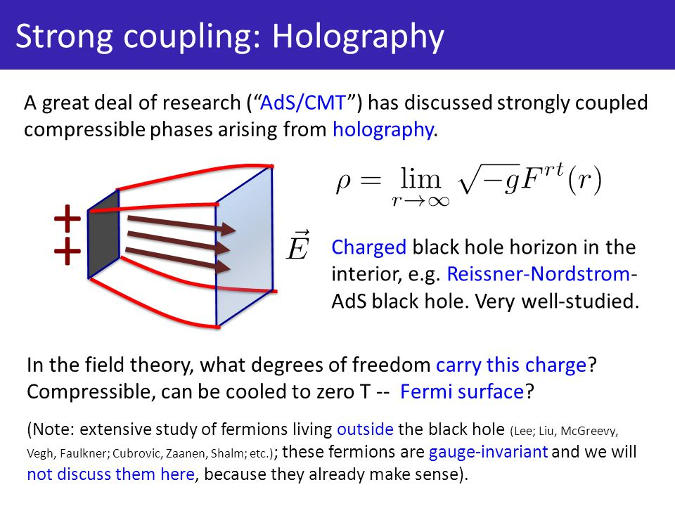 Strong coupling: Holography A great deal of research ( AdS/CMT ) has discussed strongly coupled compressible phases arising from holography.