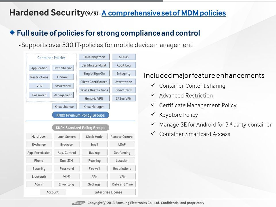 - Supports over 530 IT-policies for mobile device management.