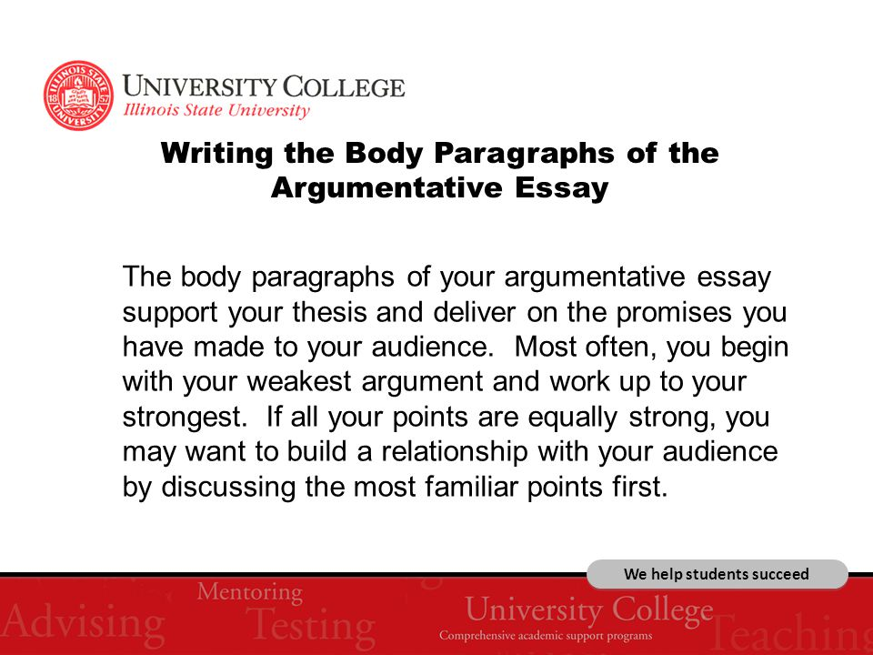 We help students succeed Writing the Body Paragraphs of the Argumentative Essay The body paragraphs of your argumentative essay support your thesis and deliver on the promises you have made to your audience.