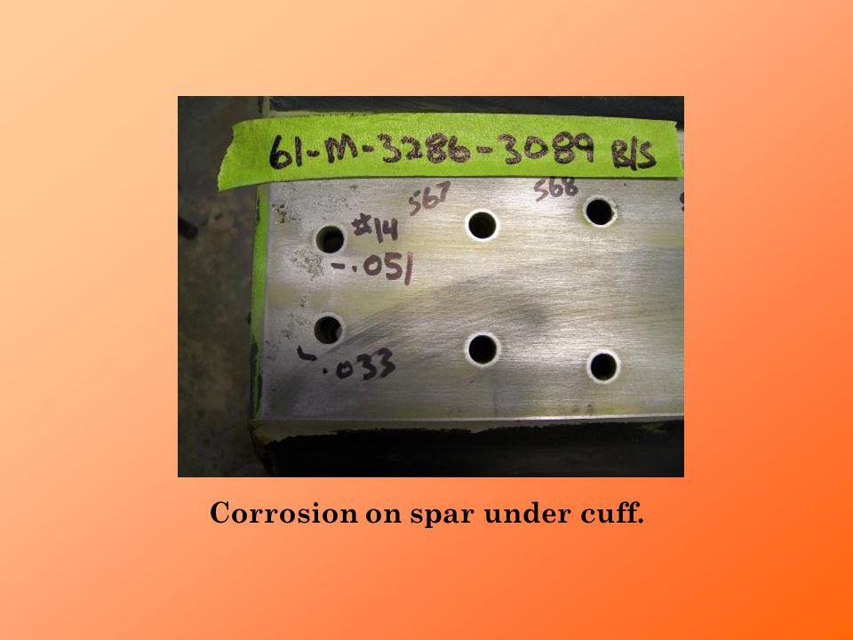 Corrosion on spar under cuff.