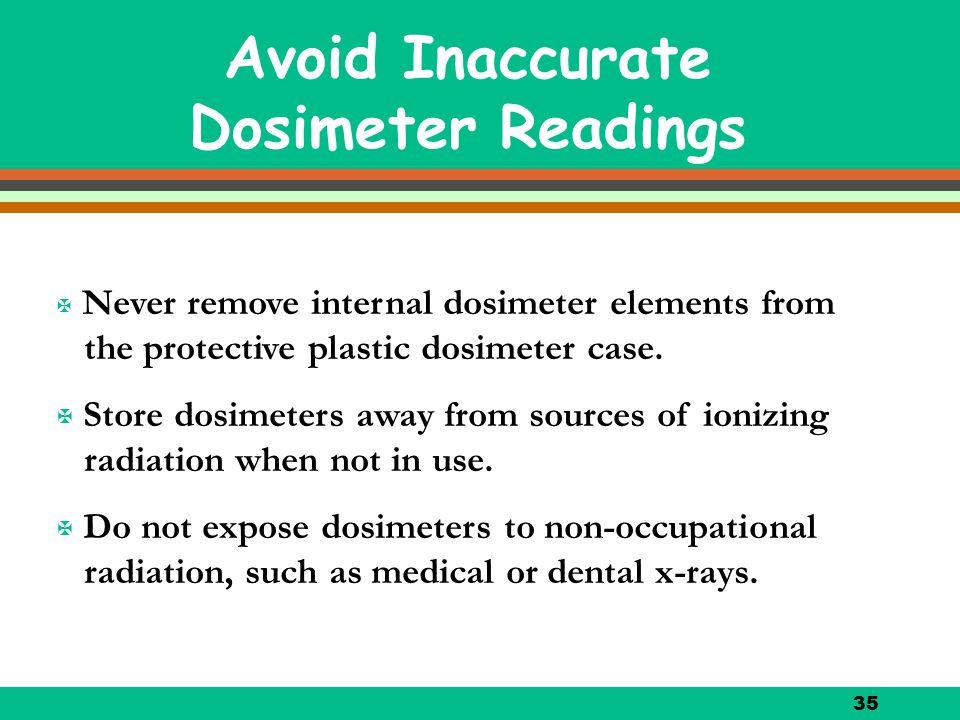 35 Avoid Inaccurate Dosimeter Readings X Never remove internal dosimeter elements from the protective plastic dosimeter case. X Store dosimeters away