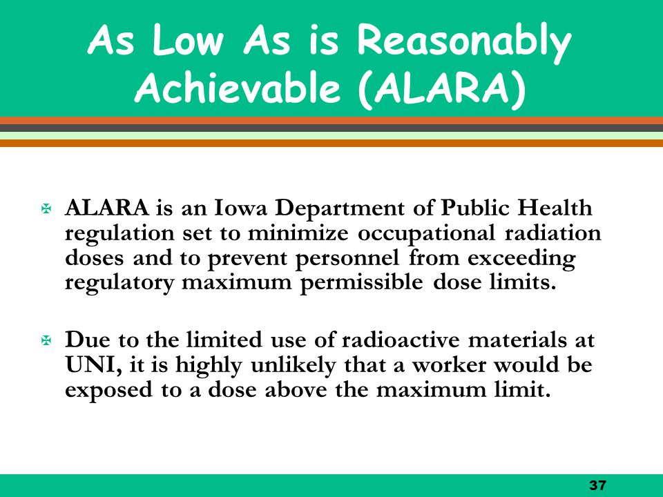 37 As Low As is Reasonably Achievable (ALARA) X ALARA is an Iowa Department of Public Health regulation set to minimize occupational radiation doses a