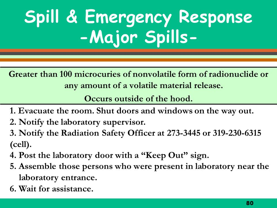 80 Greater than 100 microcuries of nonvolatile form of radionuclide or any amount of a volatile material release. Occurs outside of the hood. Spill &