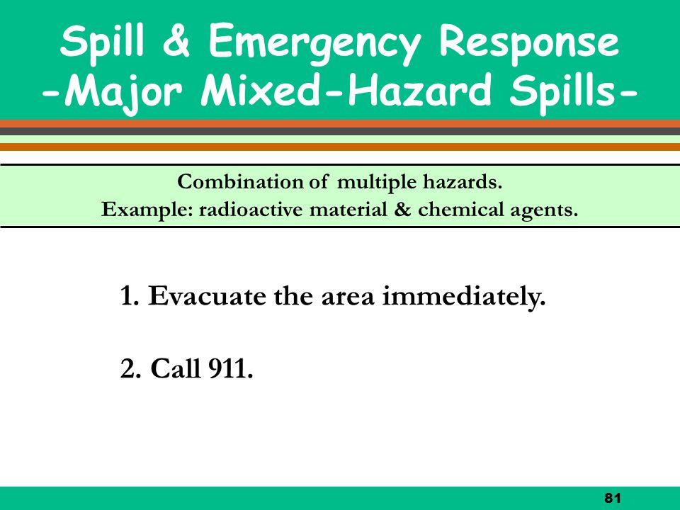 81 Spill & Emergency Response -Major Mixed-Hazard Spills- 1. Evacuate the area immediately. 2. Call 911. Combination of multiple hazards. Example: rad