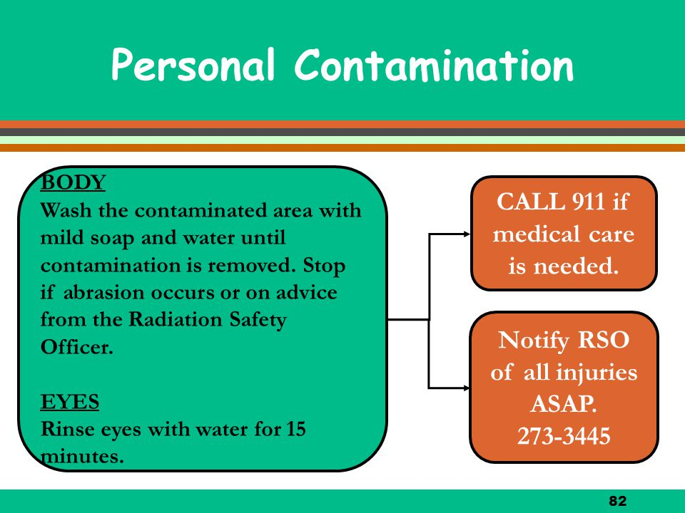 82 Personal Contamination BODY Wash the contaminated area with mild soap and water until contamination is removed. Stop if abrasion occurs or on advic